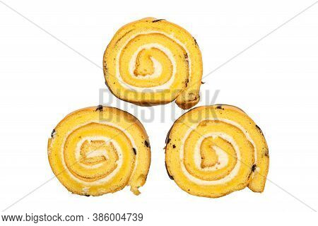 Top View Of Sliced Cake Roll Isolated On White Background With Clipping Path.