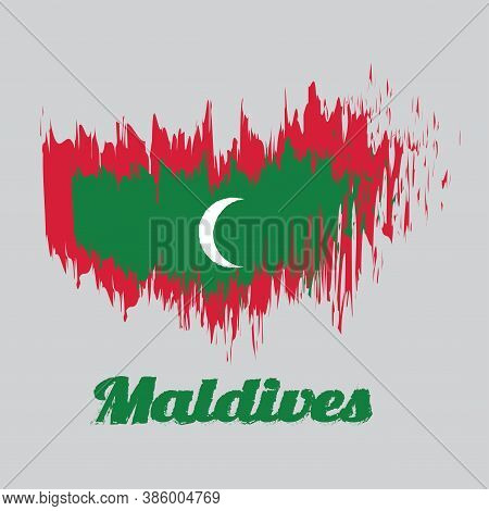 Brush Style Color Flag Of Maldives, Green With Red Border And White Crescent On Center. With Text Ma