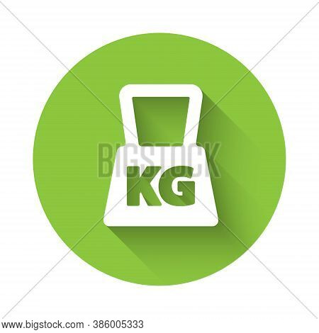 White Weight Icon Isolated With Long Shadow. Kilogram Weight Block For Weight Lifting And Scale. Mas