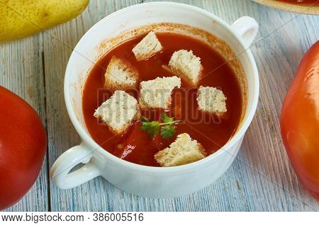 Sicilian Tomato Soup , Sicilian Cuisine, Traditional Assorted Italy Dishes, Top View.