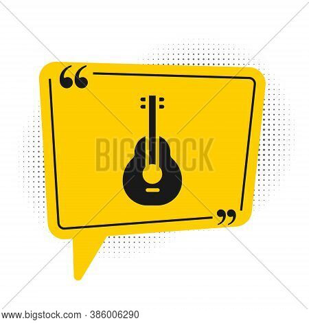 Black Mexican Guitar Icon Isolated On White Background. Acoustic Guitar. String Musical Instrument.