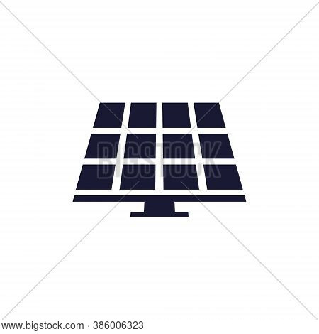 Solar Energy Black Icon. Frontal Solar Panel Outline Vector Illustration Isolated On White.