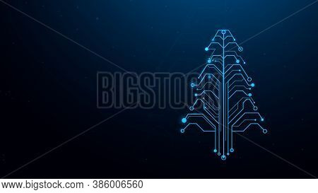 Christmas Tree In Circuit Network Digital Technology Electronic Concept. Vector Illustration