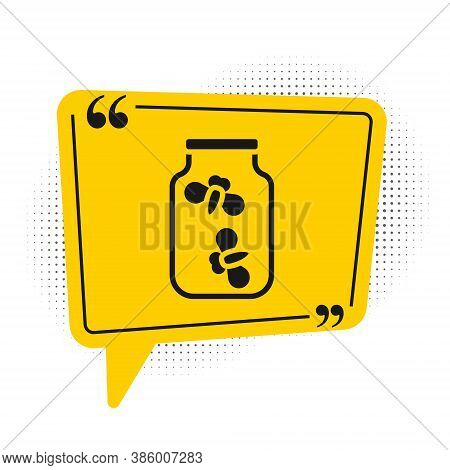 Black Fireflies Bugs In A Jar Icon Isolated On White Background. Yellow Speech Bubble Symbol. Vector