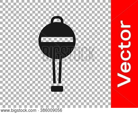 Black Rattle Baby Toy Icon Isolated On Transparent Background. Beanbag Sign. Vector