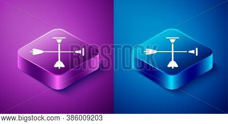 Isometric Arrow With Sucker Tip Icon Isolated On Blue And Purple Background. Square Button. Vector