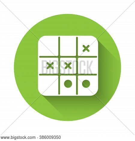 White Tic Tac Toe Game Icon Isolated With Long Shadow. Green Circle Button. Vector