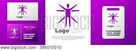 Logotype Vitruvian Man By Leonardo Da Vinci Icon Isolated On White Background. Human Anatomy. Logo D