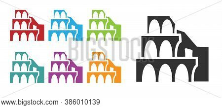Black Coliseum In Rome, Italy Icon Isolated On White Background. Colosseum Sign. Symbol Of Ancient R