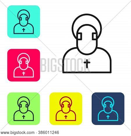 Black Line Monk Icon Isolated On White Background. Set Icons In Color Square Buttons. Vector