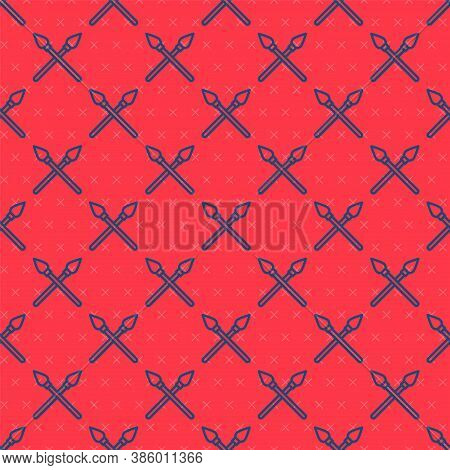 Blue Line Crossed Medieval Spears Icon Isolated Seamless Pattern On Red Background. Medieval Weapon.