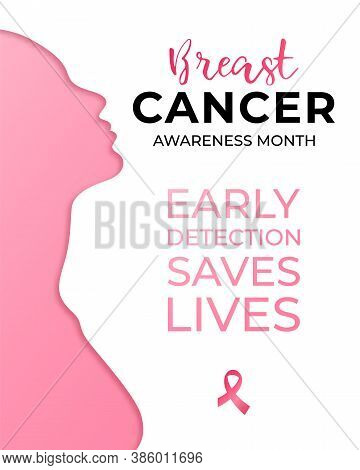 October - Breast Cancer Awareness Month Campaign. Social Poster With Silhouette Of Beautiful Woman A