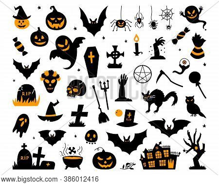 Happy Halloween Magic Collection, Wizard Attributes, Creepy And Creepy Elements For Halloween Decora
