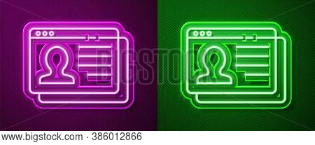 Glowing Neon Line Resume Icon Isolated On Purple And Green Background. Cv Application. Searching Pro