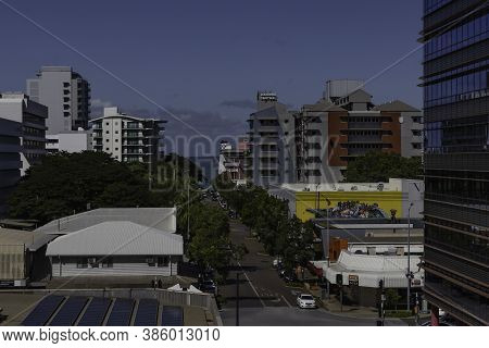 Darwin, Australia - March 14th, 2020: A Panoramic View Of A Main Street Leading To The Ocean In Darw