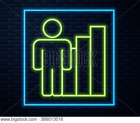 Glowing Neon Line Productive Human Icon Isolated On Brick Wall Background. Idea Work, Success, Produ