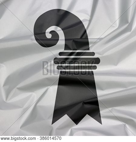 Fabric Flag Of Basel-stadt. Crease Of Basel-stadt Flag Background, The Canton Of Switzerland Confede