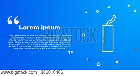 White Line Detonate Dynamite Bomb Stick And Timer Clock Icon Isolated On Blue Background. Time Bomb