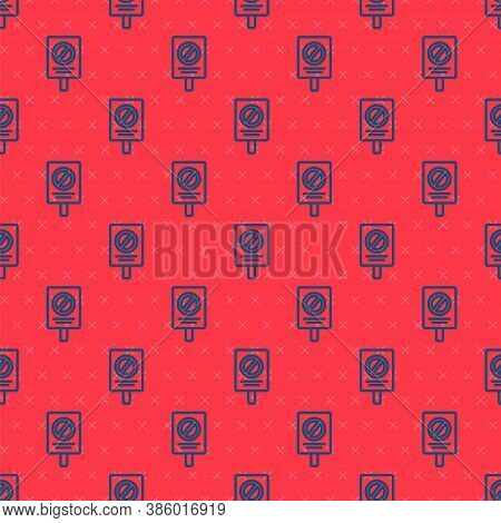 Blue Line Protest Icon Isolated Seamless Pattern On Red Background. Meeting, Protester, Picket, Spee