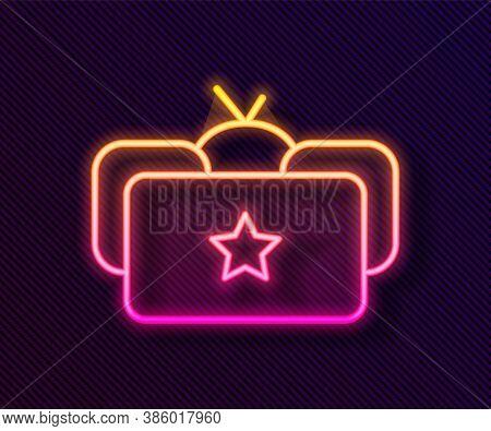 Glowing Neon Line Ushanka Icon Isolated On Black Background. Russian Fur Winter Hat Ushanka With Sta