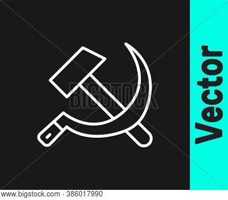 White Line Hammer And Sickle Ussr Icon Isolated On Black Background. Symbol Soviet Union. Vector