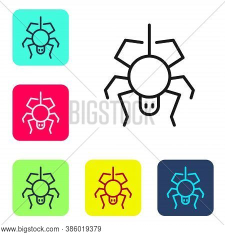 Black Line Spider Icon Isolated On White Background. Happy Halloween Party. Set Icons In Color Squar
