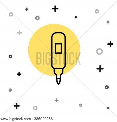 Black Line Marker Pen Icon Isolated On White Background. Felt-tip Pen. Random Dynamic Shapes. Vector
