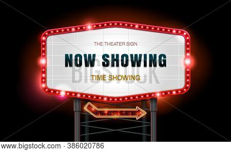 Light Sign Billboard Cinema Vector Illustration Outdoor