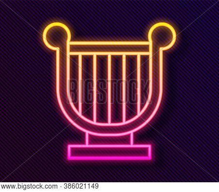 Glowing Neon Line Ancient Greek Lyre Icon Isolated On Black Background. Classical Music Instrument,