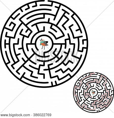 Black Circle Vector Maze Isolated On White Background. Black Labyrinth With One Right Way. Vector Ma