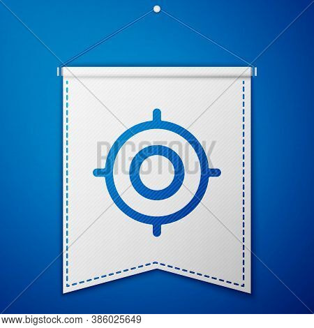 Blue Target Sport Icon Isolated On Blue Background. Clean Target With Numbers For Shooting Range Or