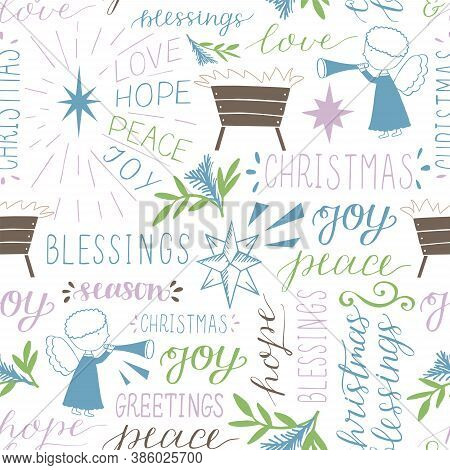 Seamless Christmas Pattern With Hand Drawn Words Love, Hope, Peace, Joy, Greetings, Blessings, Stars