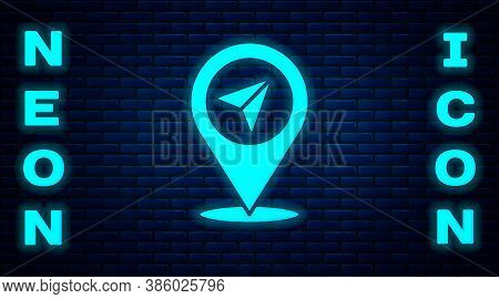 Glowing Neon Map Pin Icon Isolated On Brick Wall Background. Navigation, Pointer, Location, Map, Gps