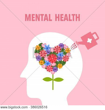 Silhouette Of Human Head With Colorful Flower Inside. Watering Flower In The Brain. Mental Health Co