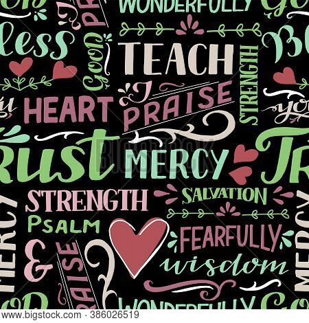 Seamless Pattern With Hand Drawn Words Mercy, Trust, Salvation, Wisdom, Psalm, Praise.