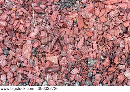 Background Of Many Red Wood Chips, Splinters Close Up