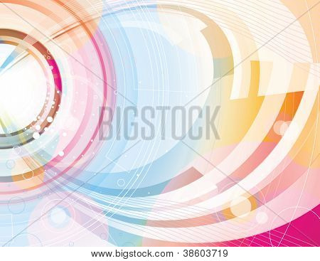 Beautiful abstract background with concentric circles swooping lines and glowing sparks.