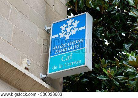 Clermont Ferrand , Auvergne / France - 09 15 2020 : Caf De La Correze Allocations Familiales Logo An