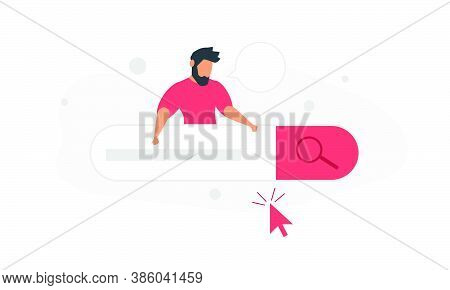 A Man Uses An Online Search Engine. Concept Vector Illustration Of People And Easy Search For Inform