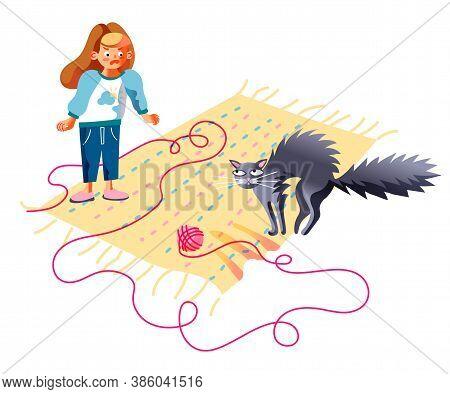 Annoyed Girl Shouting On Prankster Cat Vector. Kitten Unraveled Thread Ball On Floor. Mad Child Scol