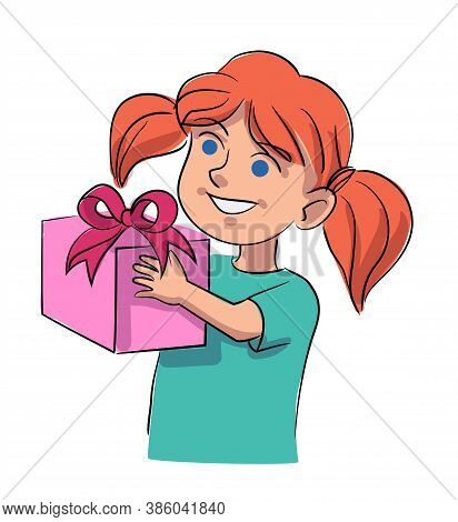 Vector Little Cute Smiling Girl Getting Gift Box Decorated With Silk Ribbon Bow. Happy Cheerful Surp
