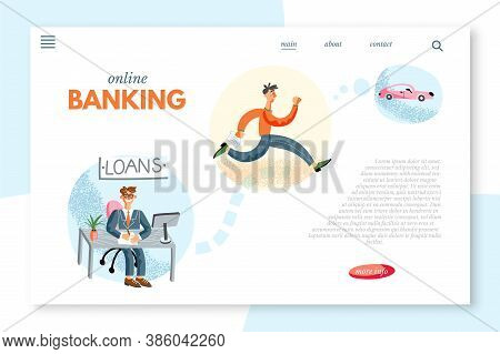 Online Banking Loan Service Vector Landing Page. Bank Agent Signing Financial Contract. Young Man Ru