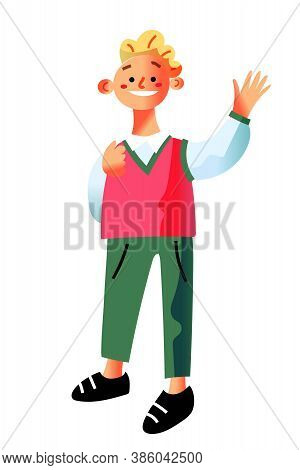 Vector Smiling Schoolboy. Little Happy Child Standing Isolated On White Background. Schoolchild With
