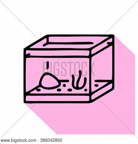 Aquarium Line Icon, Vector Pictogram Of Fish Glass Square Tank. Fishbowl Illustration, Sign For Pet