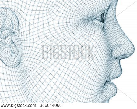 3d Rendering Of Human Head And Face As Wire Mesh For Use In Illustration And Design