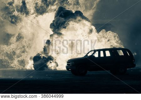 Close Up Of A Military Strike Or Strike Or Bomb In War On An Suv With Tanks Causing Fire Balls And E