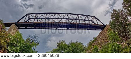 Panorama Of An Old Trestle Railroad Bridge Spanning Over The Southern Lower End Of Bear Canyon Near