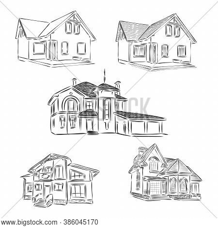 Set Of Different Houses, Detached, Single Family Houses With Gardens And Garage. Hand Drawn Cartoon
