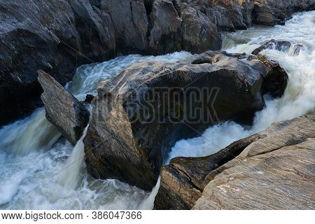 Pulo Do Lobo Waterfall With River Guadiana And Rock Details In Mertola Alentejo, Portugal