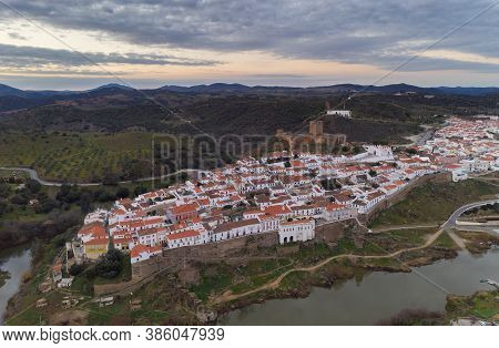 Aerial Drone View Of Mertola In Alentejo, Portugal At Sunset
